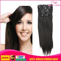 de calidad superior 7A brasileño clip de Remy del indio peruano virginal humano del pelo humano en la extensión del pelo 70g 100g 120g de largo clip en el pelo cabeza llena