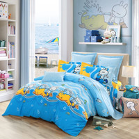 Wholesale US Stock LOVO Tuzki Have Fun In Water World Cotton bed linen bedding set bedclothes bed sheet duvet cover pillowcase comforter
