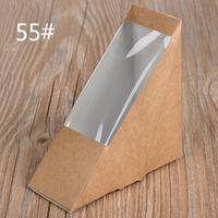 sandwich packaging - Creative Kraft Paper Sandwich Box Eco Friendly Disposable Cake Dessert Box Foldable Takeaway Food Package SK731