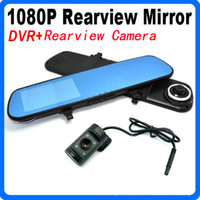 2 channel dvr - Promotion inch HD P Car DVR Dual Lens Rearview Mirror Blue Mirror H Infrared Parking Backup Camera G sensor PIP Photograph