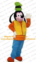 Wholesale Goofy Dog Mascot Costume Mascotte With Orange Coat Blue Pants Adult Cartoon Character Outfit Suit Fancy Dress No Free Ship