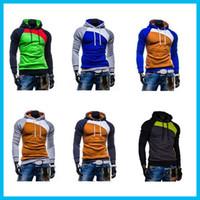 hoodies wholesale - New Leisure Men s Hoodies Patchwork Colors Napping Fashion Men s Tracksuits Sweatshirts Hooded Men Coats colors size M XXXL DHL