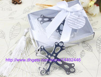 Wholesale 200pcs Free DHL Shipping stainless steel Cross Bookmark For Wedding Baby Shower Party Bookmarks Favor Gift