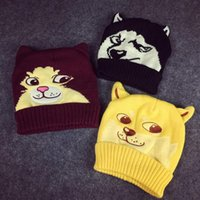 Cheap Wholesale-2015 winter thicken wool knitted hat cartoon animal beanies skullies wolf god tiger embroidery gorros bonnet hat for women men