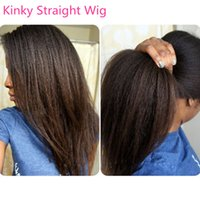 kinky straight lace wigs - Kinky straight glueless full lace wigs for women malaysian brazilian indian remy coarse yaki lace front wigs inch