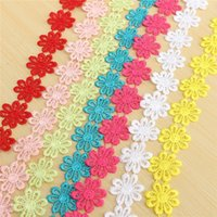 Wholesale Bilateral Yard Lace Trim Ribbon Colorful Flower Embroidered Net Tape Ribbon Fabric Home Decoration