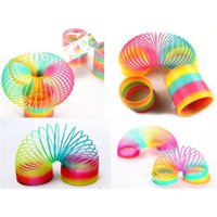 Wholesale 5PCS Plastic Round Rainbow Circle Coil Spring X9CM Size Slinky Party Kids Baby Educational Toys