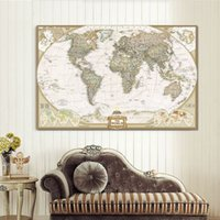 Cheap Large Size Single Wall Art The World Map Oil Painting On Canvas Prints Europe Vintage Picture For Living Room Study Office Decor