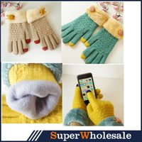 Wholesale Women knitted Phone Touch Gloves Winter Gloves Double Knitting Gloves