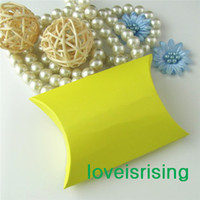 Wholesale Hot Sale Pieces x7 x2 cm Yellow Color Pillow Favor Box Gift Box For Baby Shower Wedding Favors Boxes Decoration