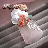agate brooches - Custom Made Bridal Brooch Dlower Pearl Wedding Accessories Bridesmaid Girl FLower Wedding Party Agate In Stock ZYY