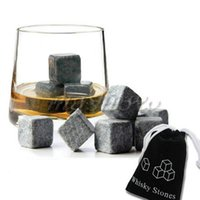 Wholesale 9pcs Whisky Ice Stones Drinks Cooler Cubes Beer Rocks Granite Pouch Drink Cooling Ice Melts Wholesales