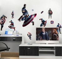 baby room wallpapers - Movie Avengers Captain America Posters Wall Stickers Decals Art for Baby Nursery Kid Room Home Decoration WallPaper Cartoon