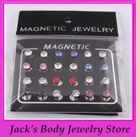 Wholesale earring mix color mm steel magnetic ear stud round crystal fake earring ear piercing ear stud