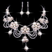 beaded wedding jewellery - Hot Sale Elegant Wedding Jewellery Sets Beaded Bridal Accessories Necklace Earrings Accessories Two Pieces Cheap Fashion Style