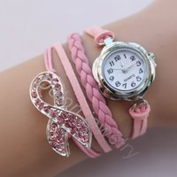 Cheap watch charm bracelet Best cancer ribbon charmwatch bracelet