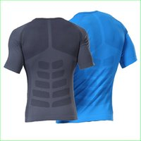 Wholesale RTS01 Men Compression Tights Base Layer Running Sport Shirt Fitness Excercise Cycling Maillot Short Sleeve Shirt Underclothes