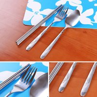 Wholesale 20sets Environmental Cutlery Stainless Steel Fork Spoon Chopsticks Camping Picnics Tableware With Canvas Bag os197