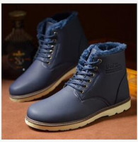 Wholesale Man Warm Boots PU Leather Martin Ankle Boots For Men England Style Male Snow Boots Thicken Plush Mens Winter Boots Retail