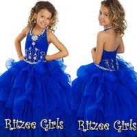 Cheap Fashion Girls Pageant Dresses With Halter Crystal Backless Ball Gown Ruffles Organza Cheap Blue Princess Flower Girl Gowns For Teens 2015
