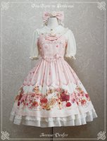 avenue skirts - Sweet Pink Avenue Denfer Printed Lolita Dress Jumper Skirt with Lace up Back