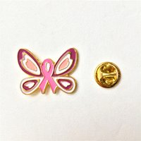 Wholesale New Pink Ribbon Lapel Pin Breast Cancer Awareness butterflies quot Drop Shipping