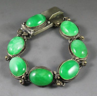 Wholesale Chinese natural green jade bracelet with beautiful jade beads bangle