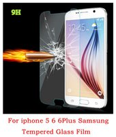 Wholesale For iphone6 mm H D Real Tempered Glass Screen Protector Film for iphone s PLUS Samsung galaxy s5 s6 note