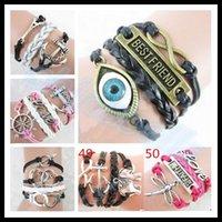 personalized gifts - DIY handmade lover woven multilayer bracelet woman Cross love bird owl Valentine Day gift charm bracelets personalized jewelry