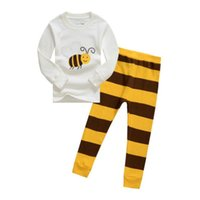 bees homes - Kids Home Wear Little Bee Cartoon Stripe Pajamas For Children Long Sleeve Round Collar Boys And Girls Outfits T T Age K965