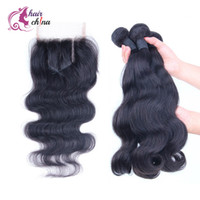 Wholesale Excellent Brazilian Virgin Hair with Closures Body wave Human Hair Weave bundles with Lace Closure Hair Extentions