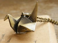 Wholesale Origami necklaces for girls crystal copper sweater necklace crane pendant copper looking metal necklace art jewelry