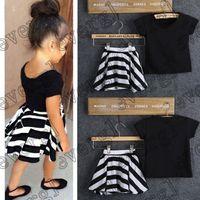 Wholesale 2015 Children Baby Girls T Shirt Flower Skirt Outfits Set Summer Dress Y