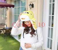 Wholesale 50PCS LJJH981 Minions Women Soft Plush Hat Winter Warm Cosplay Hooded Cap Despicable Me Minion Earflaps Hats