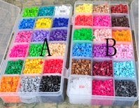 Wholesale burning paper and large square plate colored plastic box set PERLER BEADS MM picture Peas Educational Toys Y2