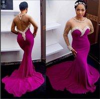 Purple vestidos de noche de la sirena de 2016 Volver hueco tren capilla con cuentas de manga larga para damas Cuello Parte barato vestido del desfile de los vestidos formales de baile vestido
