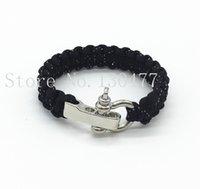 adjustable metal shackle - Adjustable U Metal Shackle Dark Blue Paracord Bracelet Outdoor Camping Emergency Survival Bracelet
