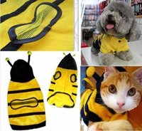bee doggie - Cute Pet Dog Cat Bumble Bee Dress Up Costume Apparel Doggie Hoodies Coat Clothes Size XS S M L XL