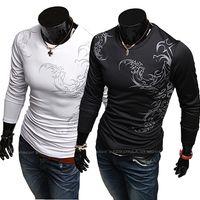 Wholesale Men t shirts men tees printing Chinese men s casual long sleeved knit T shirt Casual Slim Fit Stylish T Shirt