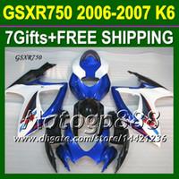 7Gifts + Cowl gratuito CustomFit SUZUKI K6 06 07 CALIENTE Azul GSXR750 GSX-R750 P10436 GSXR 750 2006 2007 GSXR-750 Carenado NUEVO azul blanco carrocería
