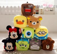 Wholesale Mini cartoon hanging bags Cute Little bread Stitch Pooh Mickey Minions Monster wallet holders plush coin purse wallets