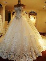 2015 de Lujo Bling Bling Una línea de Vestido de Novia con Cuentas de Cristales montados en la Falda de Hombro Larga Cola Capilla de Tren Vestidos de Novia de Encaje