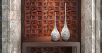 bar interiors design - 3D wooden mosaic tiles blue stone dots interior design wall tiles building supplies home hotel bar restaurant design natural wood tile