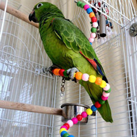 Wholesale Colorful Swing Bird Toy Parrot Rope Harness Cage Toys Pet Birds Beads Rotating Toy L7
