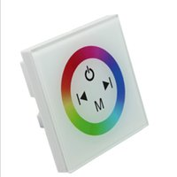 Wholesale Glass RGB LED Strip Touch Panel Controller Dimmer Wall Switch Ring full color controller DC V V A white black dandys