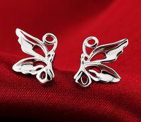 earings - 2015 fashion sterling silver stud earings vintage butterfly earings for women jewelry