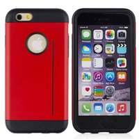 Cheap For iphone 6 Plus 5.5'' Armor Hybrid 2 in 1 Dual Color Round Hole Hard Case TPU+Plastic Credit Card Cover Shockproof Impact Skin 10pcs