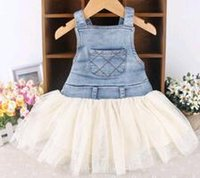 Wholesale 2015 Summer Baby Kids Kids Baby Girls Toddler Summer Overalls Denim Frilly Tulle Dress M Y Outfits