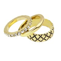 Wholesale Ring Vintage Gold Color Plated Rhinestone Rings Setsanillos De Acero Women Jewelry Geometric Pattern