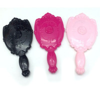 achat en gros de miroir filles de la main-20PCS / LOT Vintage Rose Miroir de maquillage miroir de maquillage en plastique Mère Cute Girl Make Up miroir noir, blanc, rose, rose chaud